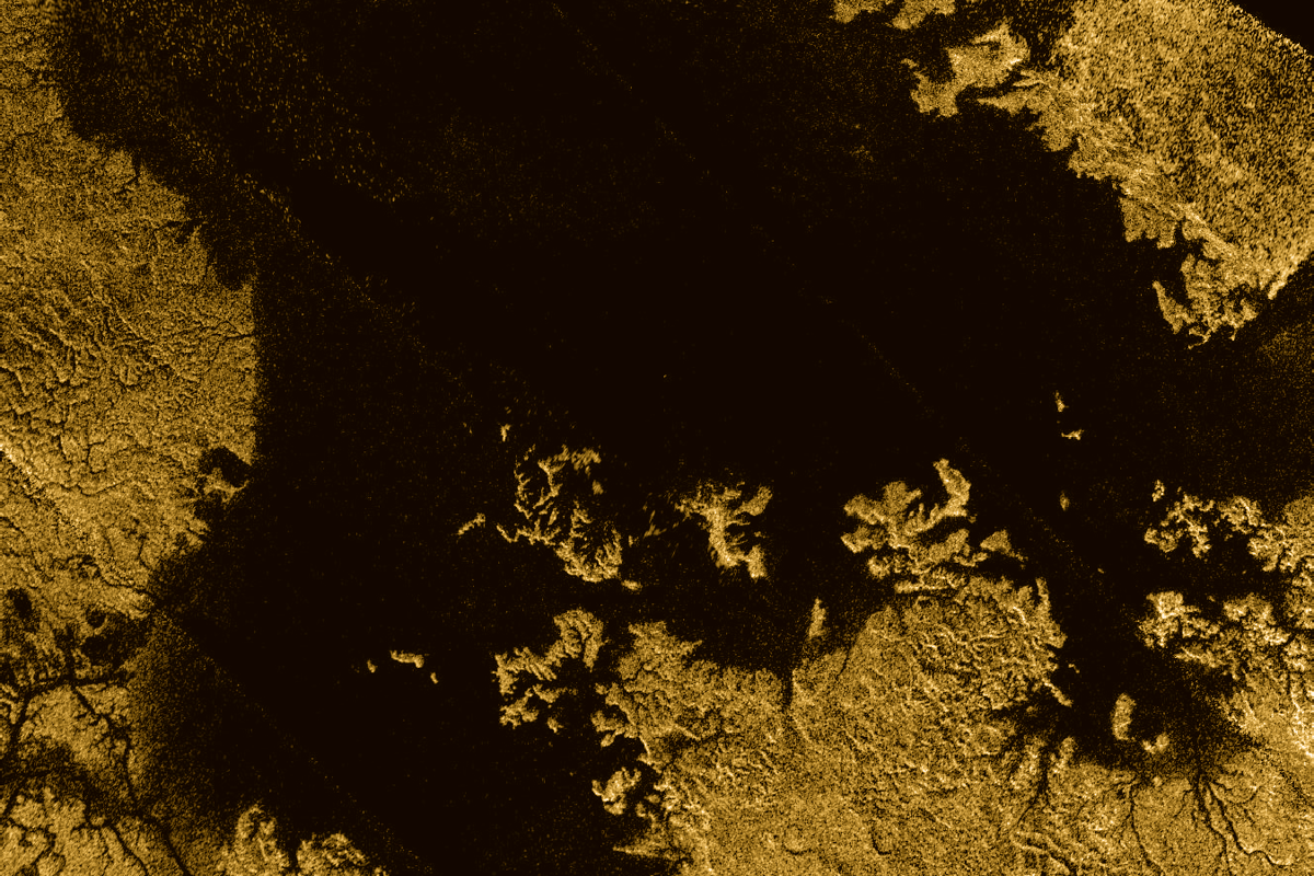 The study focused on the second largest known body of liquid on Titan, known as Ligeia Mare – it's seen here in false color, captured by the Cassini spacecraft
