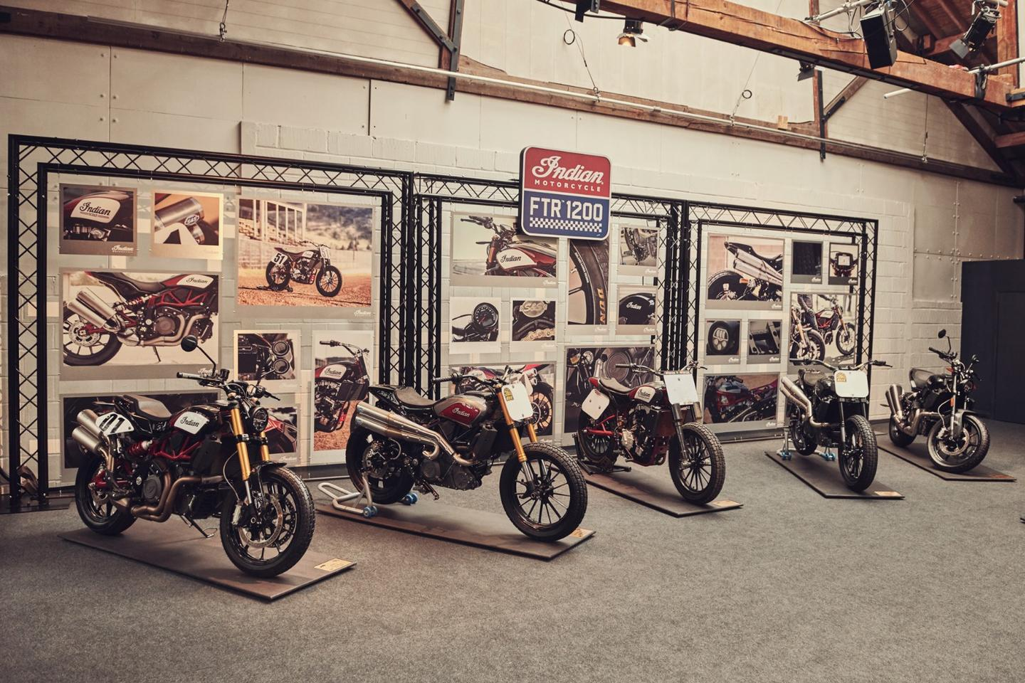 Left: stock. Second from left: Hooligan style. Third from left: an actual FTR750 flat track race bike