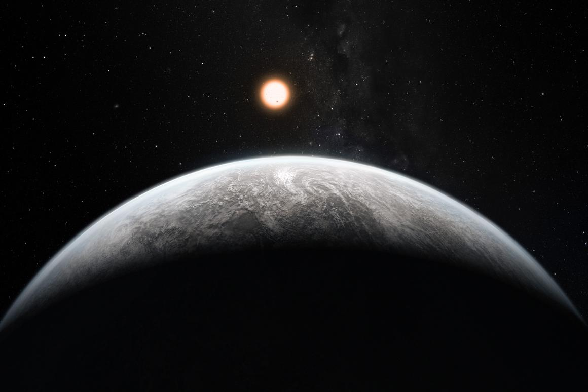 Artist's impression of the rocky super-Earth HD 85512 b - one of more than 50 new exoplanets found by HARPS (Image: ESO/M. Kornmesser)