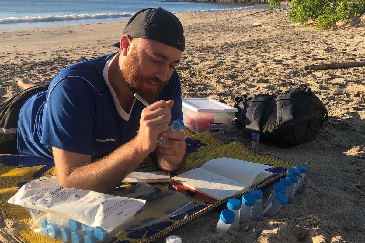 PhD student Matthew Verosloff tests the system in Costa Rica