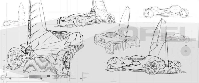 Concept sketches detailing design options for the Icona