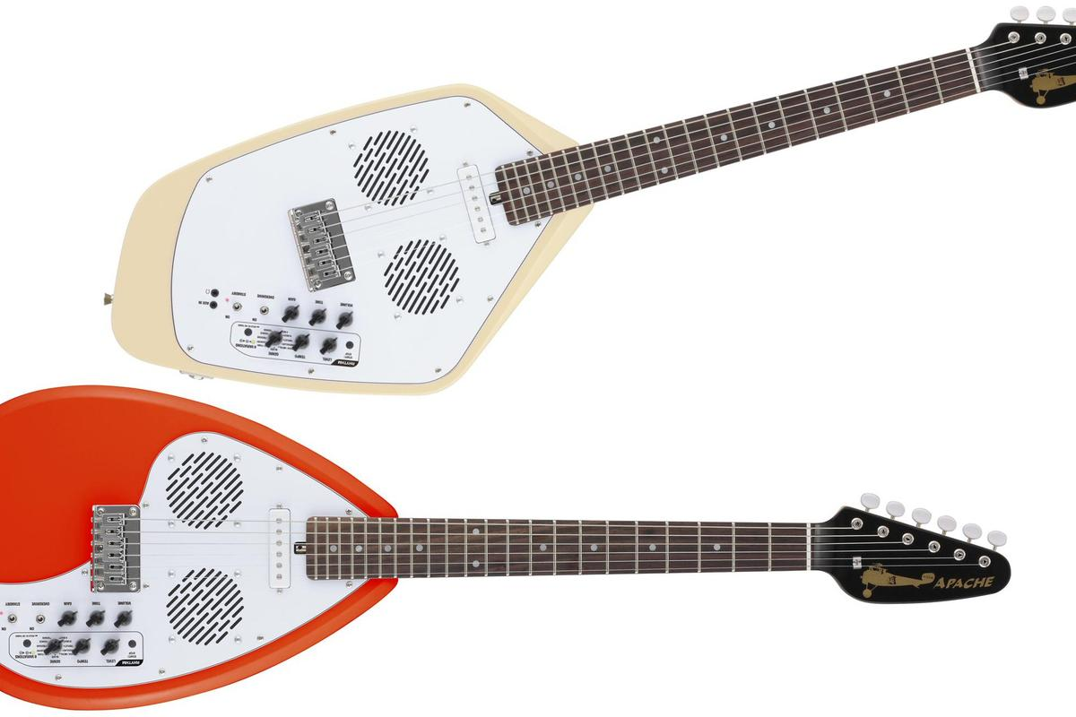 VOX Amplification has given new life to two 1960s iconic guitar bod shapes with the release of the Teardrop-shaped and Phantom-shaped Apache travel guitars