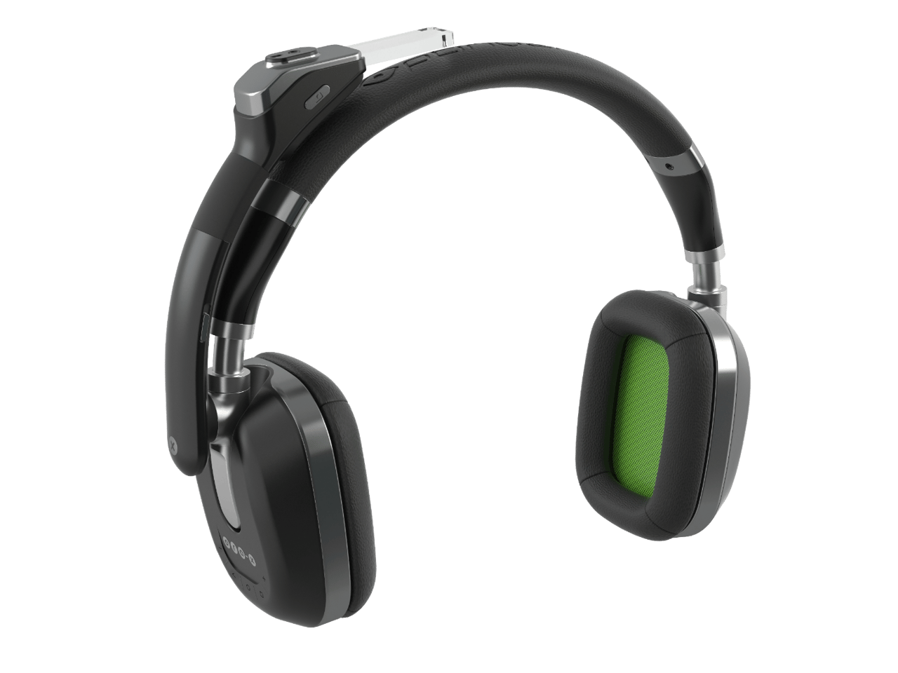 The Ora-X headphones feature a display arm that can be adjusted up to 180 degrees