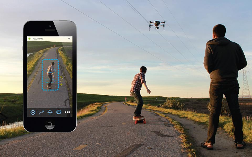 Shift automatically pans and tilts a quadcopter's camera, to keep the subject centered