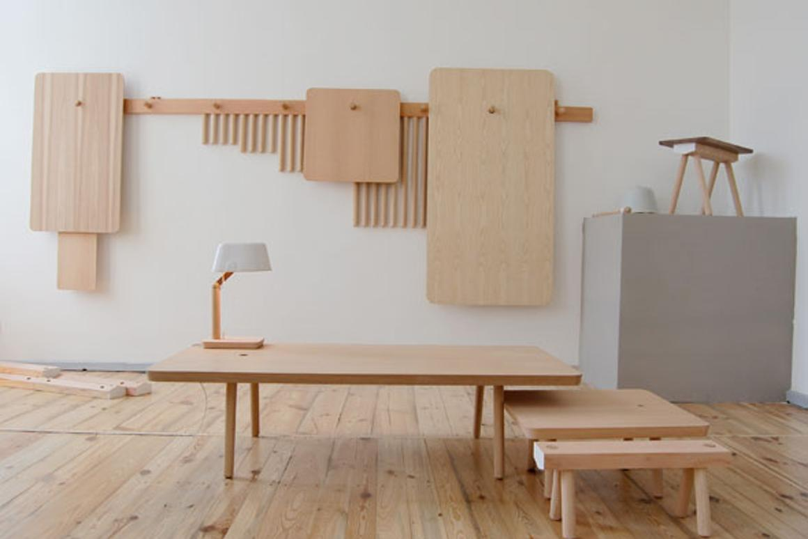 With some Wood Peg furniture built, the other components hang on the wall