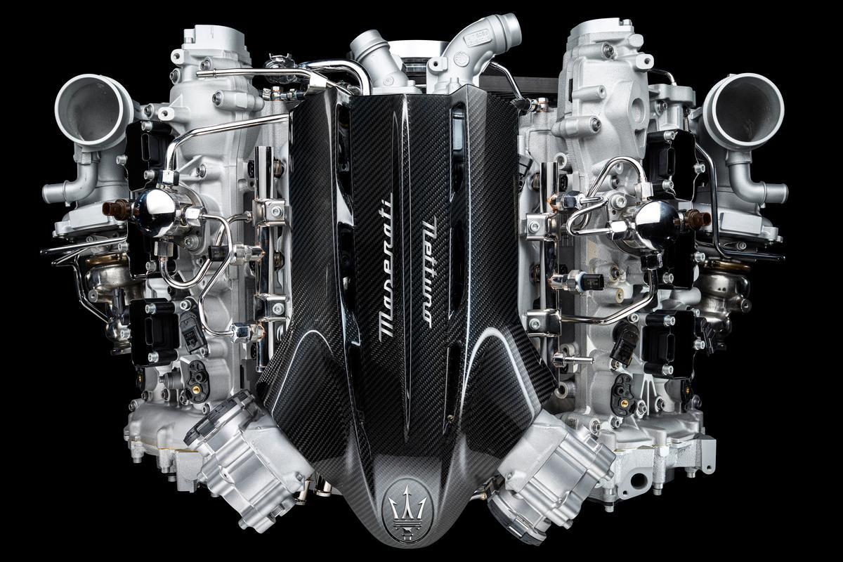 The new 90-degree, 3.0 liter Nettuno engine will power the upcoming Maserati MC20 supercar