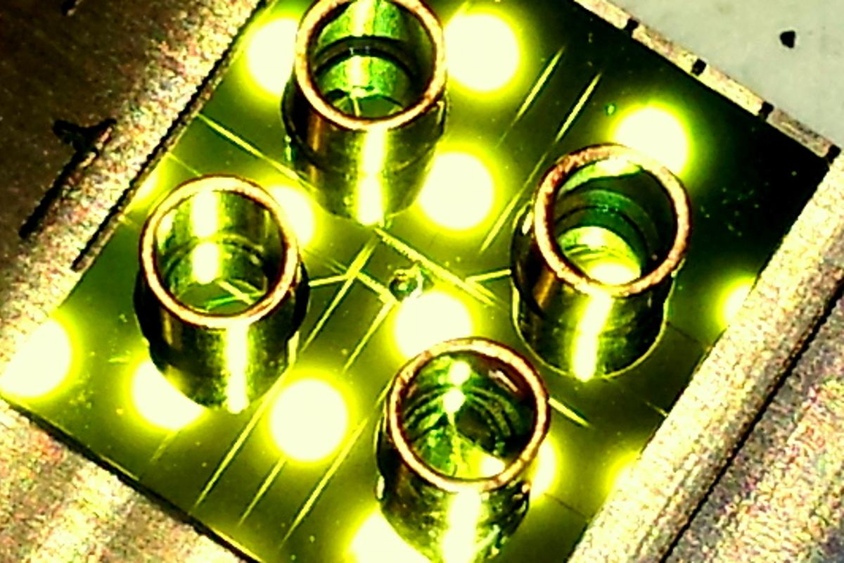 An optofluidic chip uses fluorescence to detect virus particles