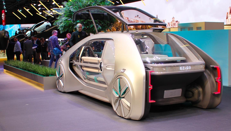 The EZ-GO robo-car on display at the Geneva Auto Show