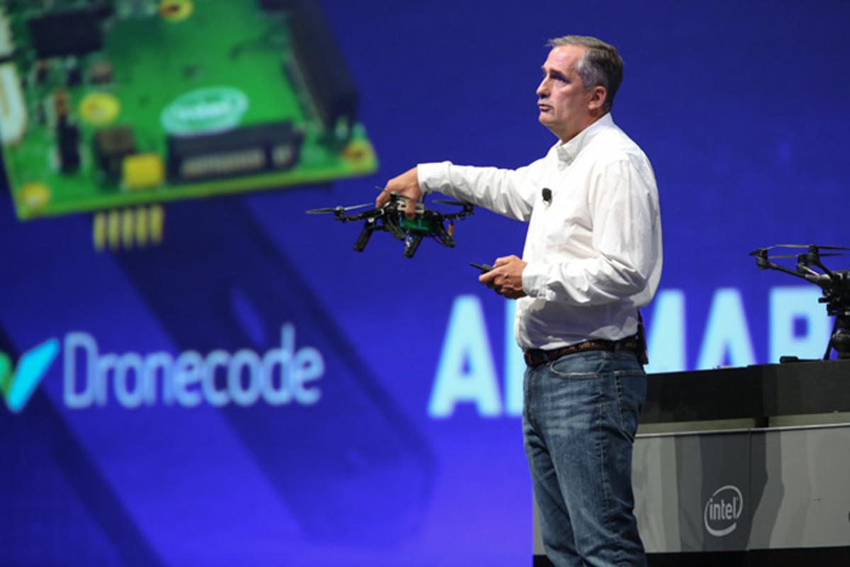 Intel CEO Brian Krzanich displays the Aero Ready To Fly drone at the company's developer forum