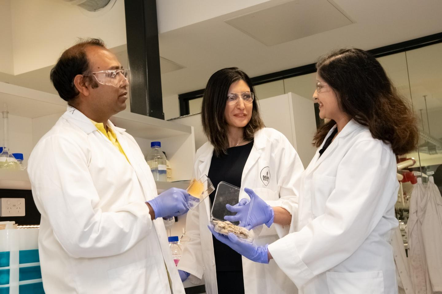 PhD candidate Abu Naser Md Ahsanul Haque (left), Dr. Maryam Naebe and associate research fellow Dr. Rechana Remadevi, with samples of the bioplastic