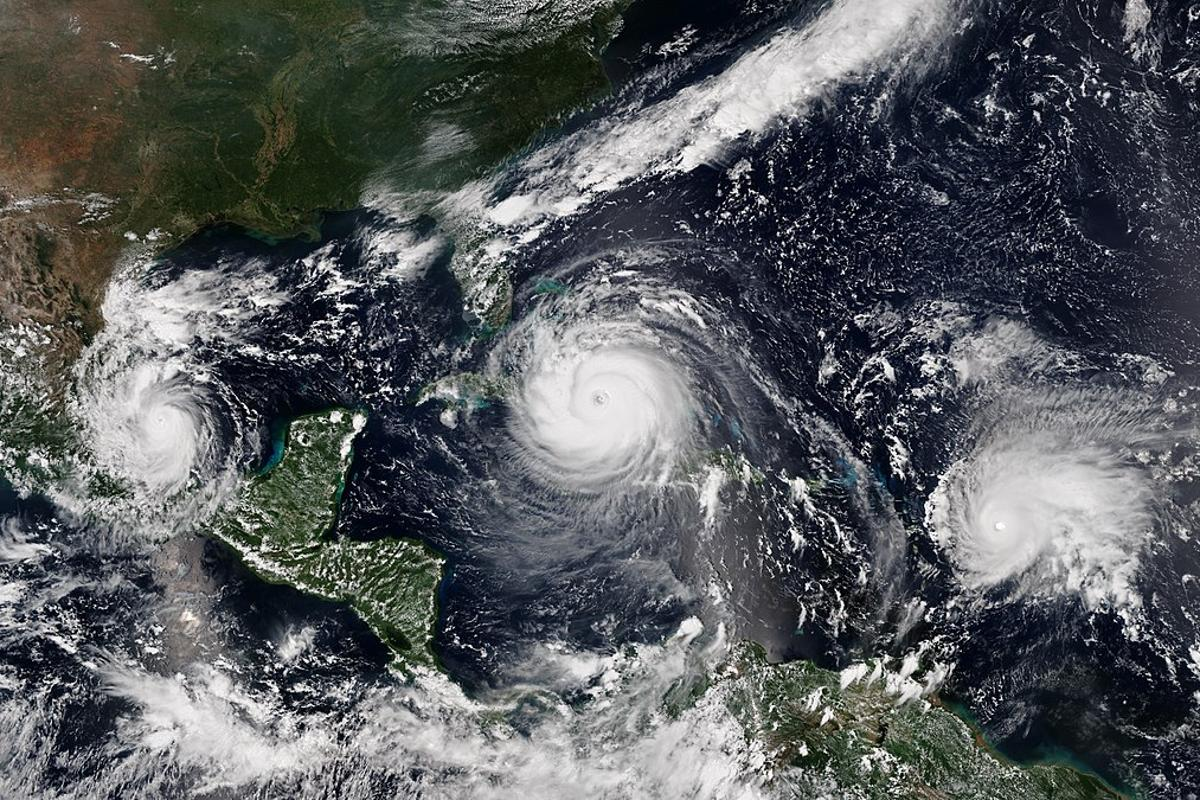 Left to right: hurricanes Katia, Irma and Jose of 2017