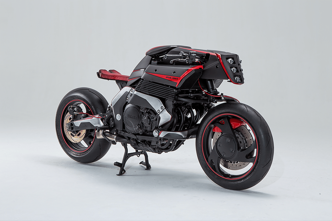 The single-sided rear swingarms on theProject Rhodium Omega look tasty, while the single-sided front ones look absolutely crazy