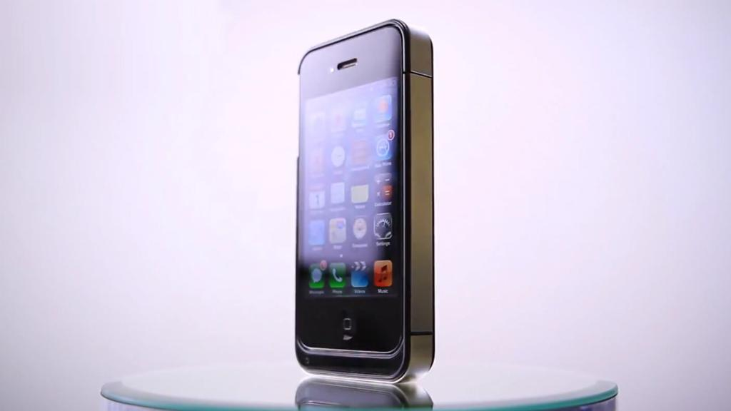 The EnerPlex fits snugly around an iPhone 4 or 4S