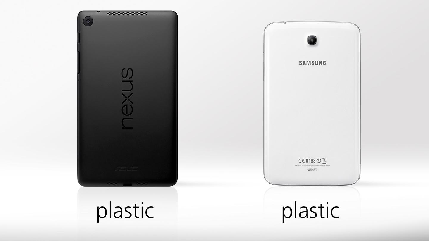 Both tablets are made of plastic, though the Nexus 7's is matte, next to the Tab's glossy finish