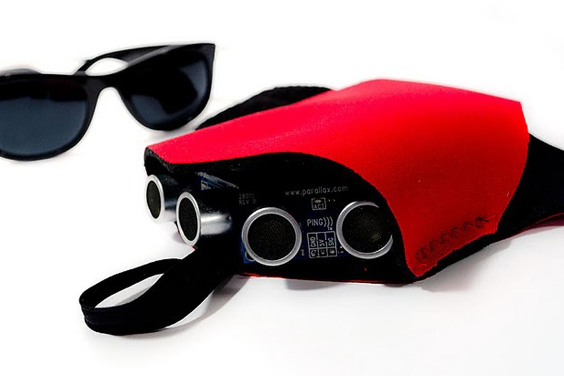 The prototype Tacit wrist-mounted sonar device designed by Steve Hoefer