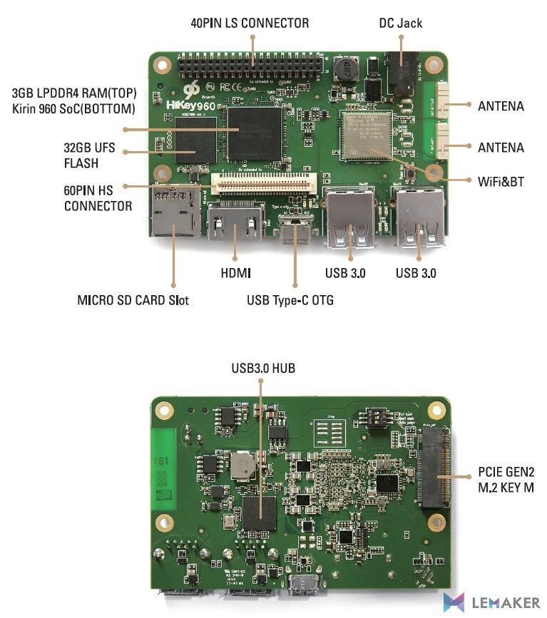 Feature set of the Huawei HiKey 960 computer board