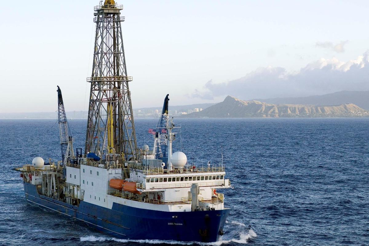 The scientific drillship JOIDES Resolution, which transported more than 30 scientists to Zealandia