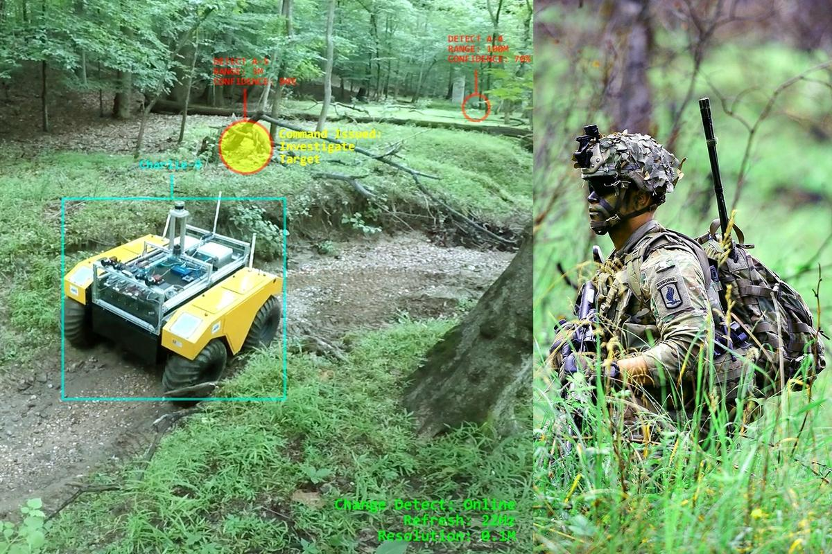 A robot utilizes LiDAR technology to spot 3D changes in its environment, which get highlighted on a human teammate's augmented reality eyewear