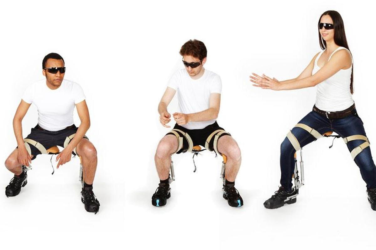 noonee's senior partners model the Chairless Chair