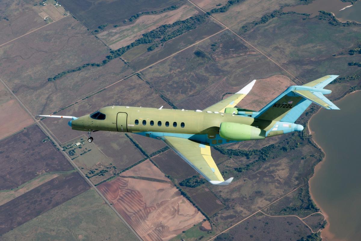 TheCessna Citation Longitude super midsize business jet during its maiden flight