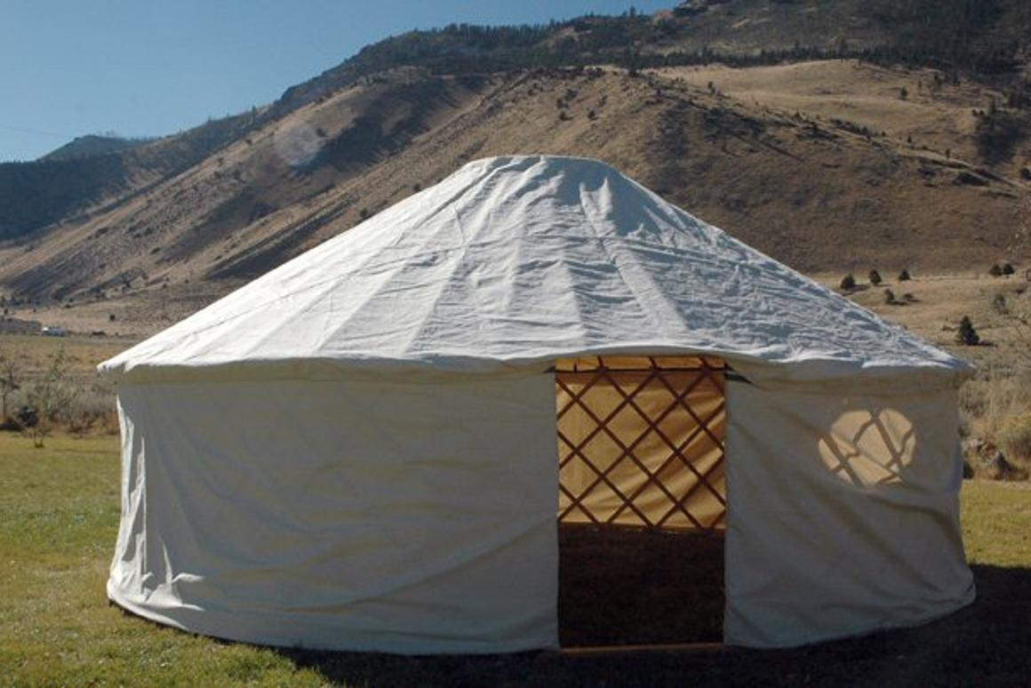 The eighth and final stage in setting up a Yurt - getting ready to move in