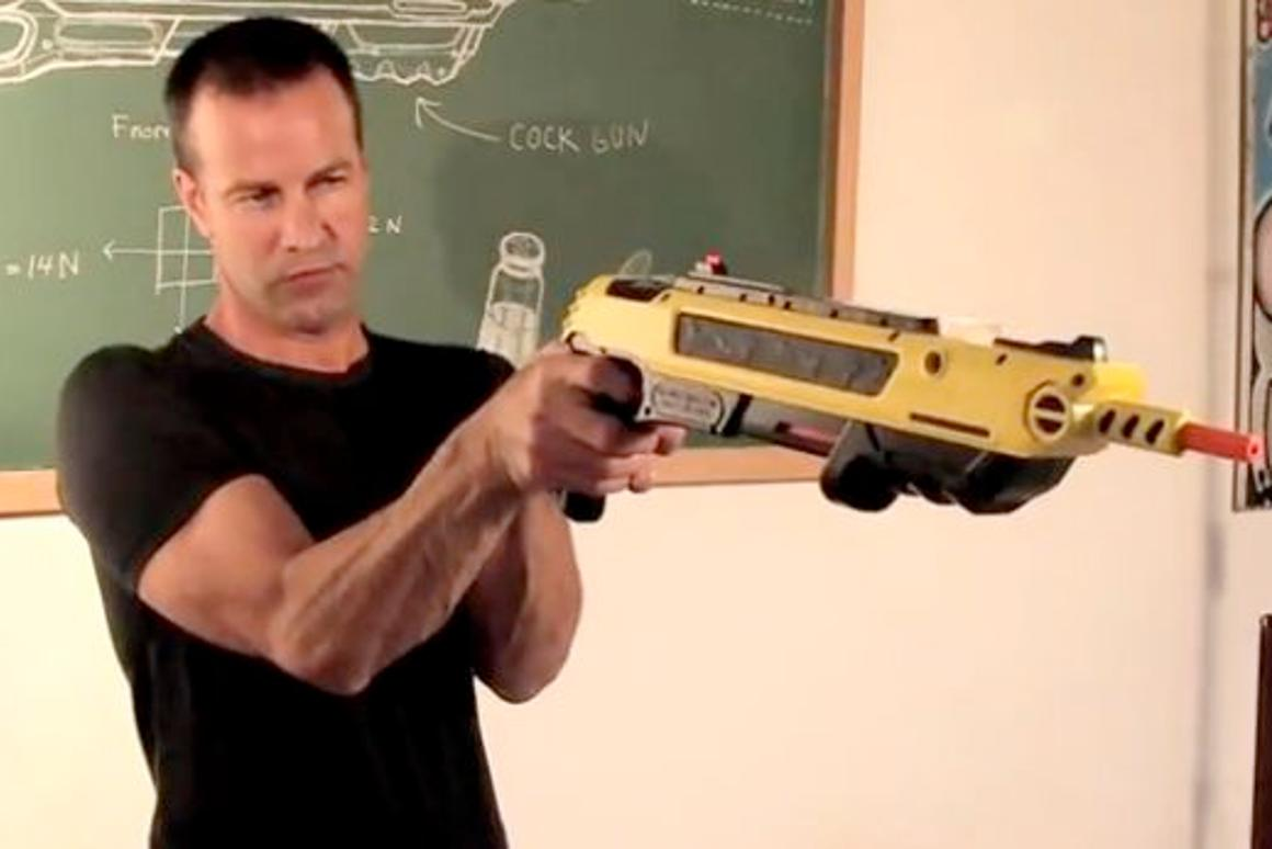 Lorenzo Maggiore with his Bug-A-Salt pump action gun that finishes bugs off with a pinch of salt