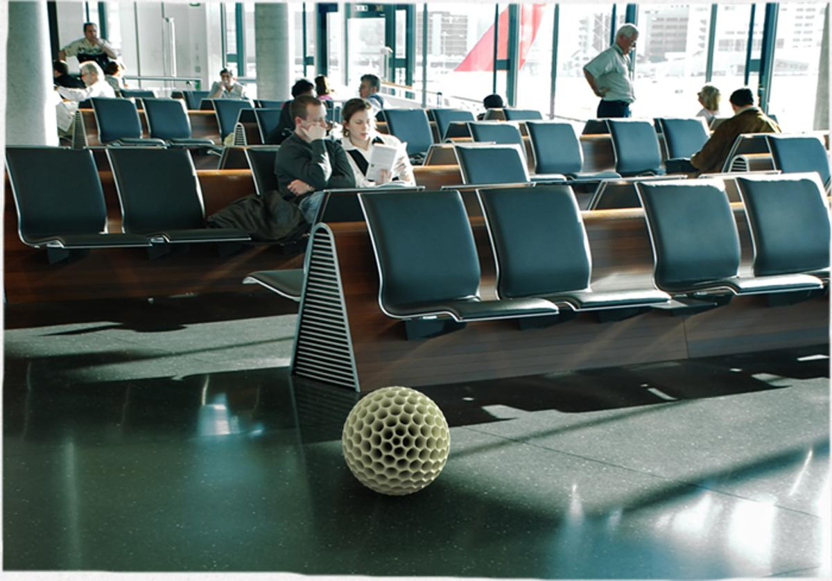 The Dustball robotic vacuum cleaner would roll around public spaces, like airports and train stations