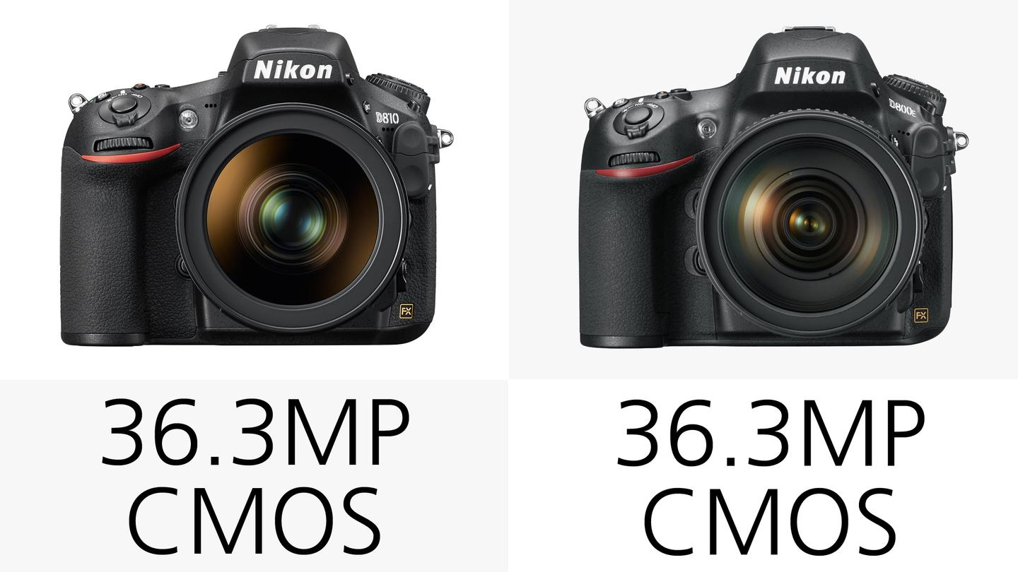 While the Nikon D810 and D800/E feature an effective 36.3 megapixel full-frame CMOS sensor, there are a number of key differences