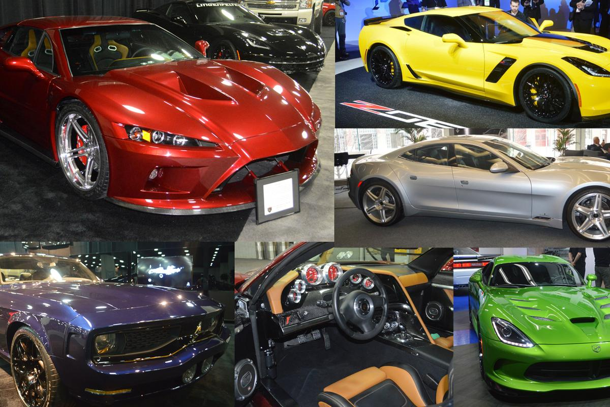Some of the big V8s and curvy American bodies on display at this year's North American International Auto Show