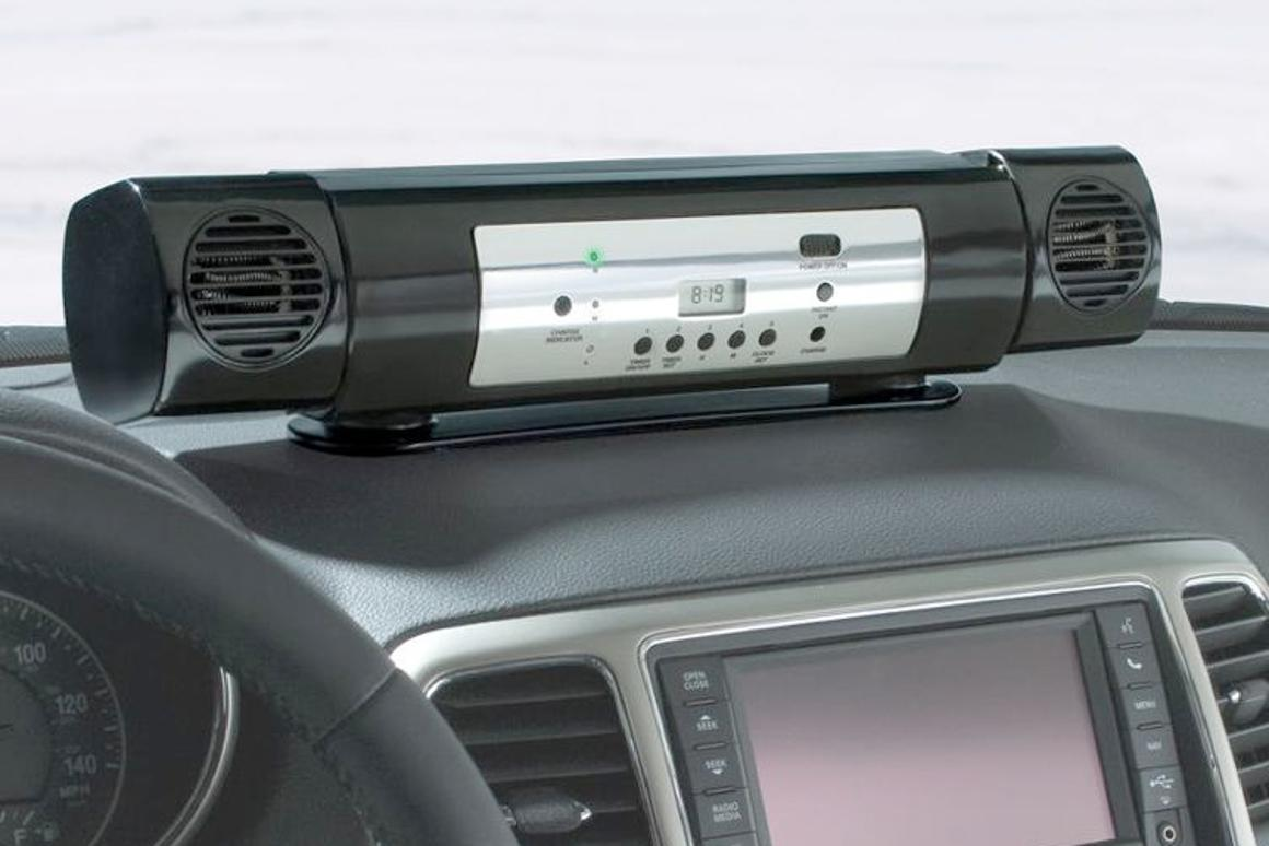 The Car Interior Preheater is a portable, battery-powered device that warms up the inside of vehicles before the driver gets in