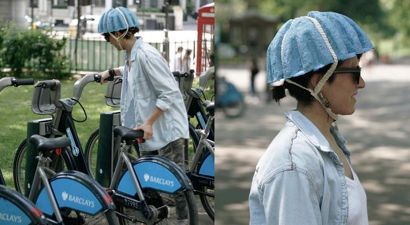 The Paper Pulp Helmet offers an affordable recyclable bicycle helmet for use with bike sharing schemes