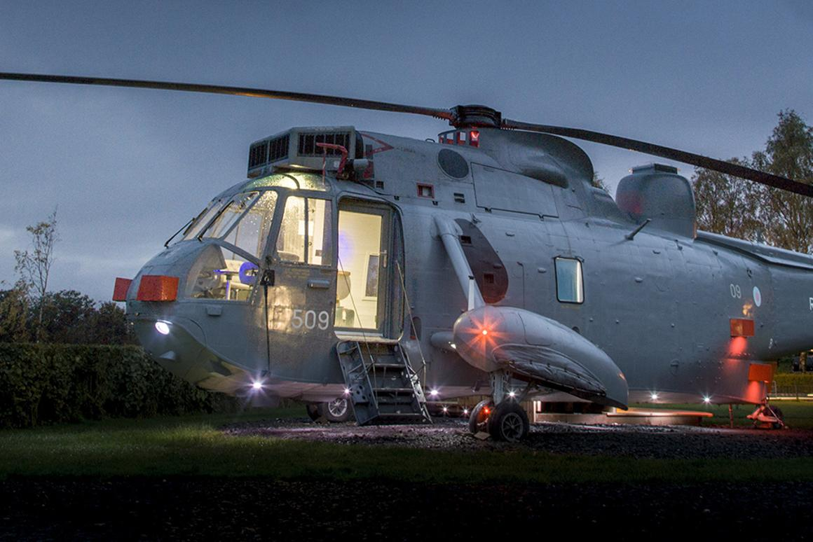 Martyn and Louise Steedman have converted a decommissioned Sea King helicopter into a luxury tiny dwelling