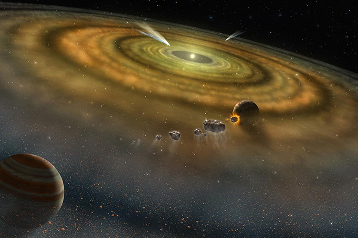 Artist's concept of a planetary system forming