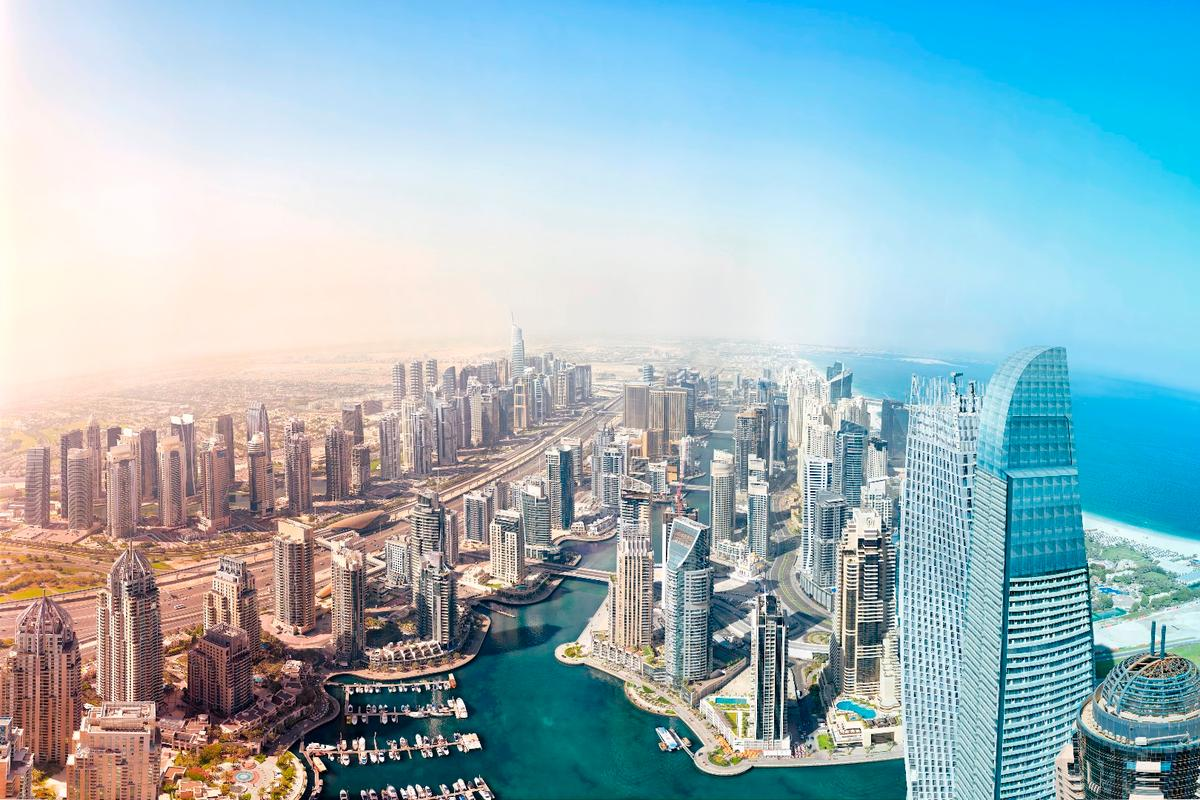 Dubai, as photographed from 265 meters off the ground