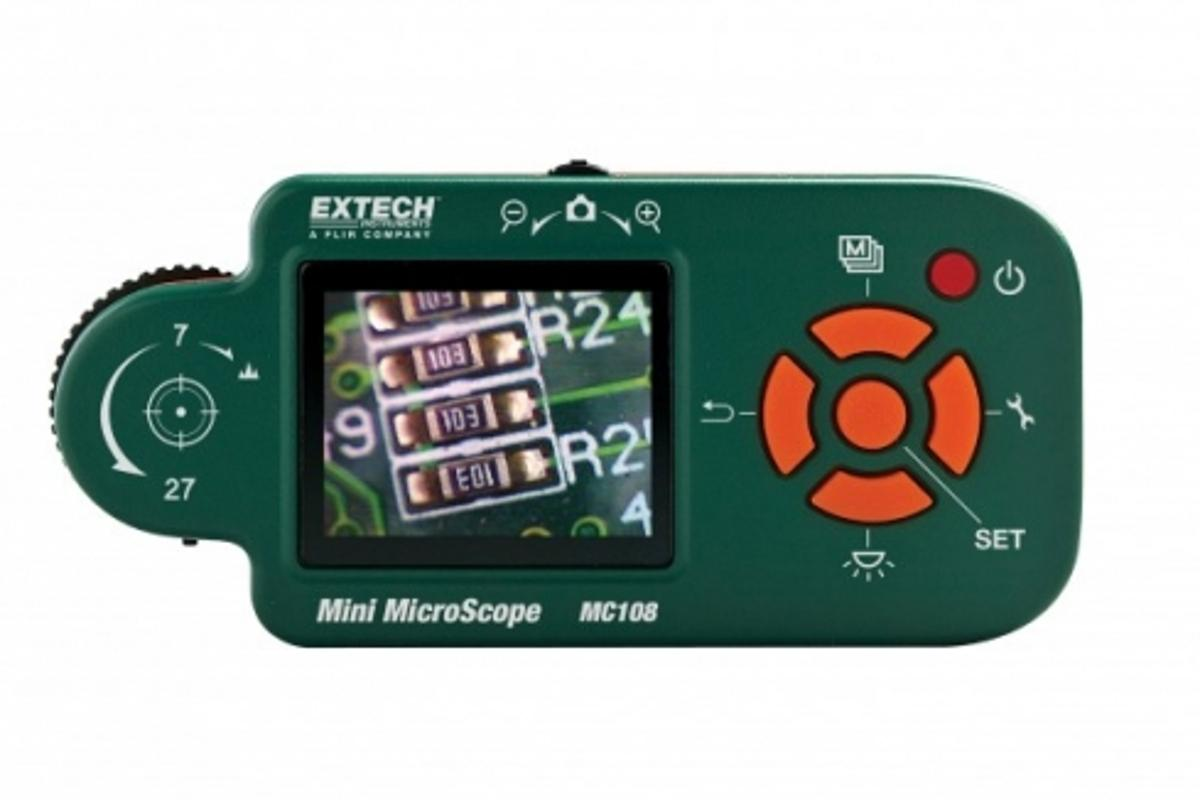 Extech Instruments' MC108 mini-microscope has the advantage of a 1.8-inch color LCD screen to view images, without needing to be plugged into a PC