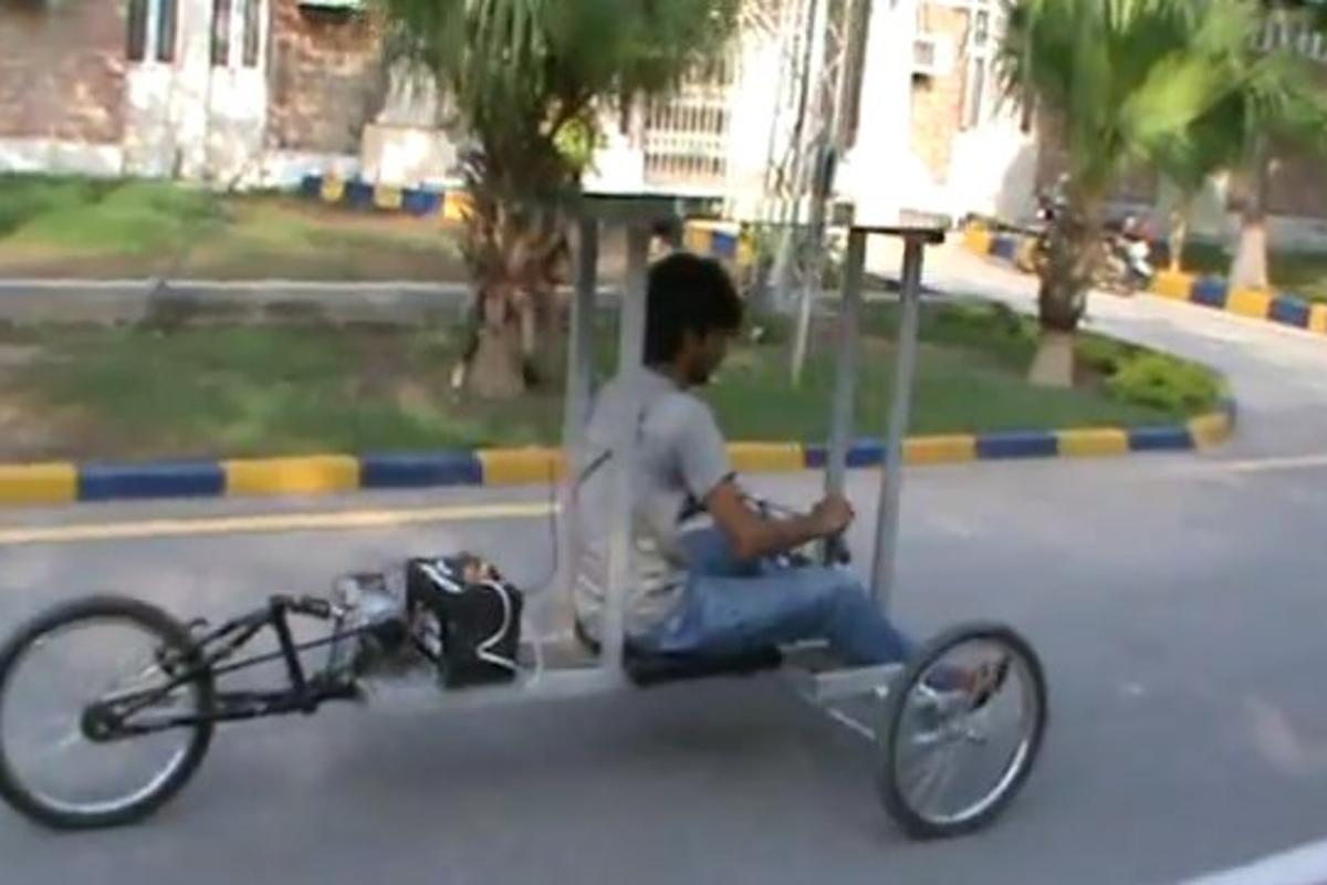 Pakistan's Farrukh Khan has designed and built an electric trike - where the onboard battery is charged by a PV canopy - for under $600, and has posted detailed build instructions online