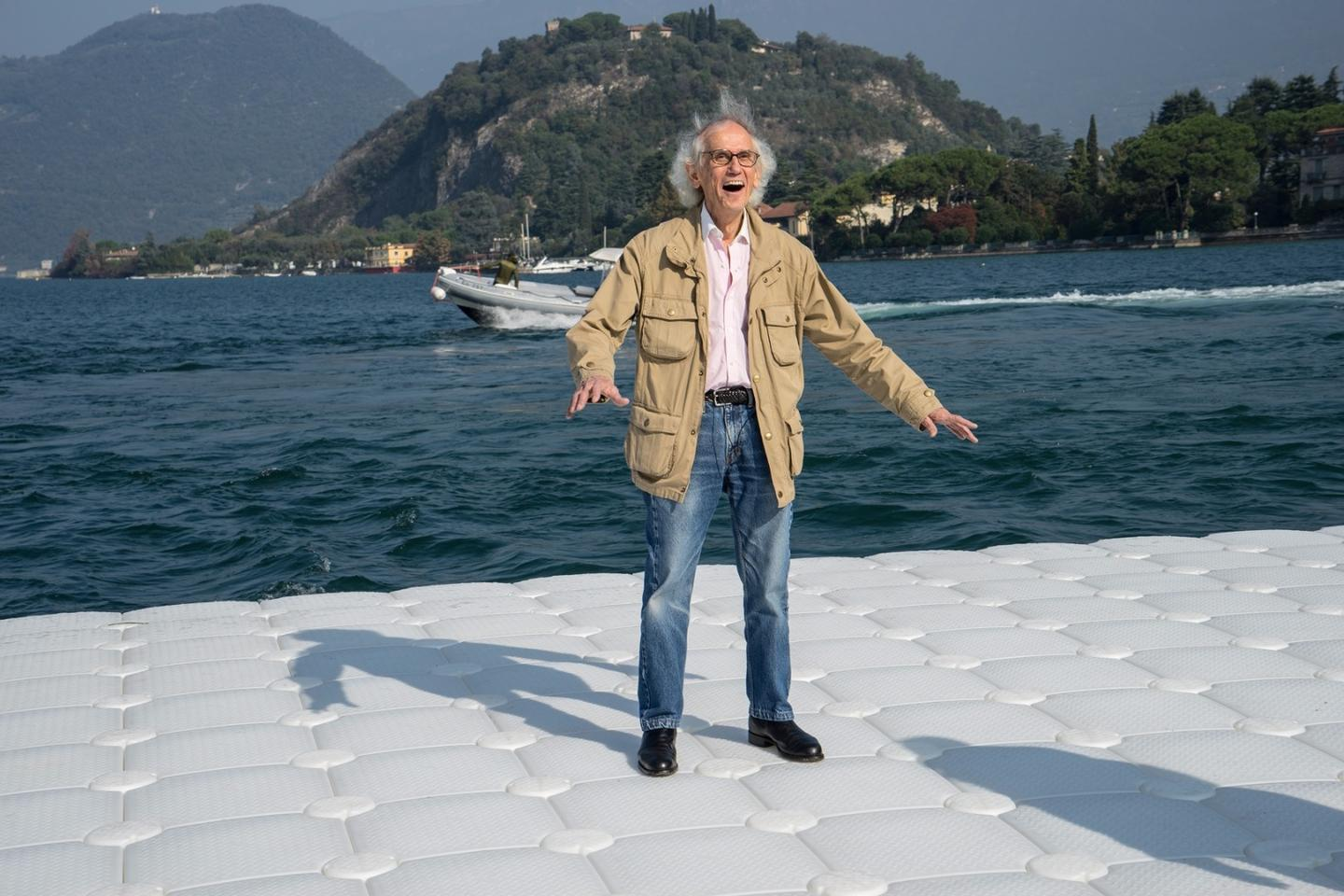 The Floating Piers was designed by artists Christo (pictured)and Jeanne-Claude