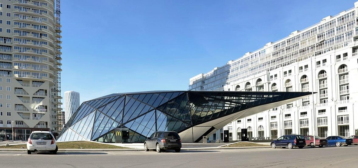 The new fuel station and McDonald's is located in the seaside city of Batumi, Georgia
