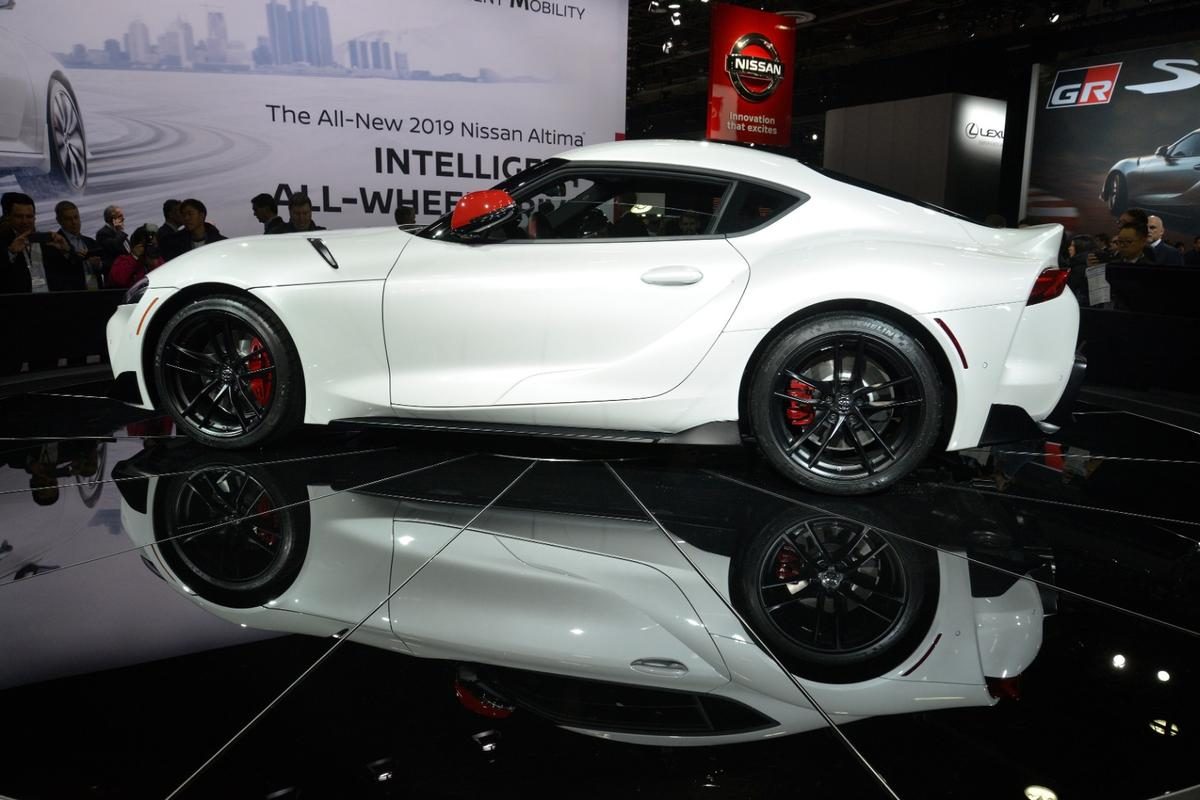 Toyota's Supra returnsas a rear-wheel drive with aturbocharged engine producing 335 hp (250 kW) and four-second 0-60 mph (96 km/h) times