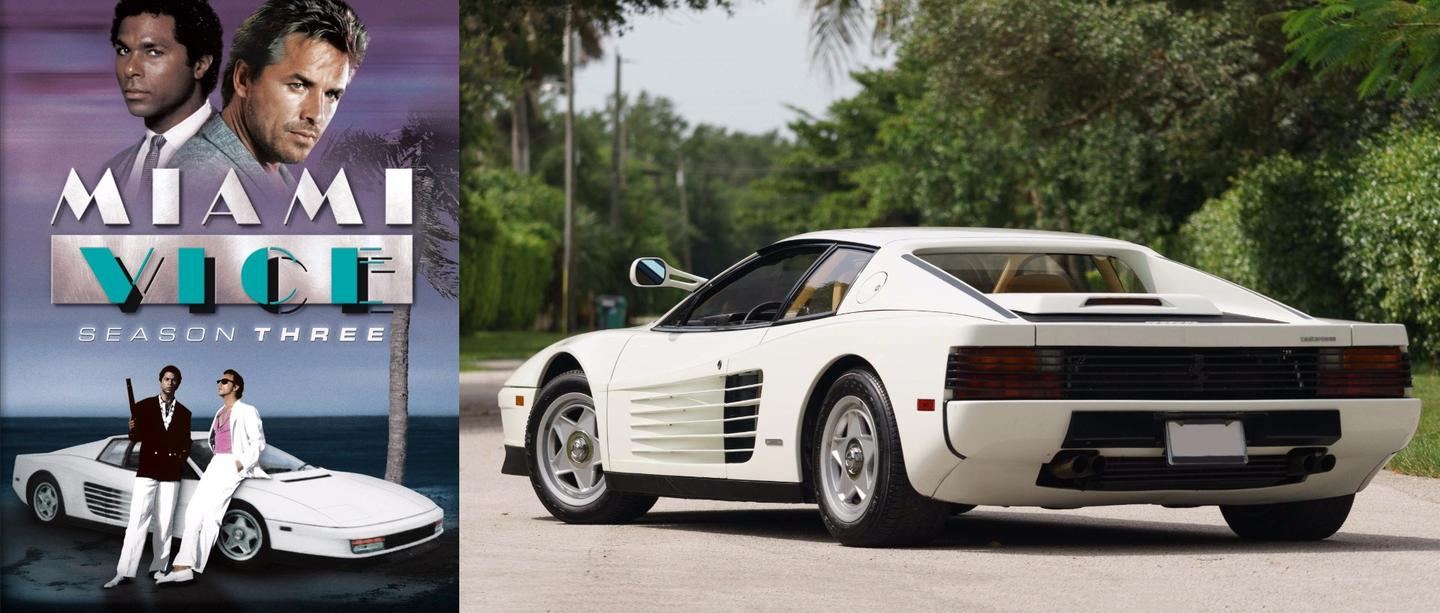 """The Miami Vice TV series ran from 1984 to 1989 withthe star car of thefirst two series being a black """"faux Ferrari"""" which so upset Enzo Ferrari that he sent representatives to the show's producers with an offer they couldn't refuse, resulting in a white Ferrari Testarossa becoming the star car of the show for the remainder of the run. Two Testarossas were provided by Ferrari for filming and this car is one of them, as certified by Ferrari Classiche. Interestingly, despite the car becoming synonymous with a smash hit TV show, and an icon of eighties cool, it has had a chequered career on the auction block. The car appeared twice on E-Bay,first in January 2015 with an asking price of $1.75 millionandagain in March 2015 with the same price tag. It didn't sell either time at that price, and was thenfeatured in Mecum's Monterey auction in August, 2015 and again failed to sell. This time it will change hands because it isbeing sold by Barrett-Jackson with the company's favoured """"no reserve"""" format. Givenprior sales of other famous movie and television cars, it will be fascinating to see what it fetches."""