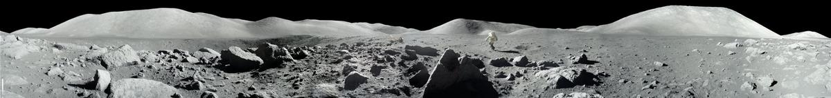 The scene duringApollo 17 at the Taurus-Littrow landing site,during the second moonwalk of the mission by Apollo 17 commander Eugene Cernan and lunar module pilot Harrison (Jack) Schmitt