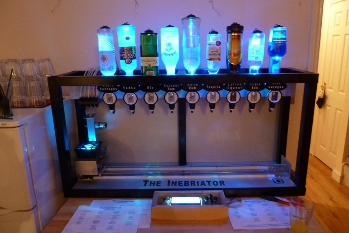The Inebriator robot bartender ready and waiting to serve cocktails