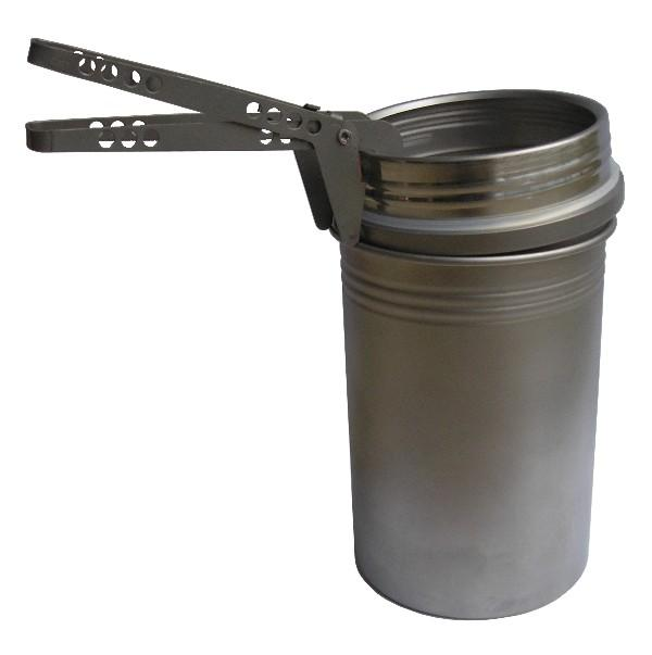 The BOT's top is both a screw-on water bottle top and a pot lid