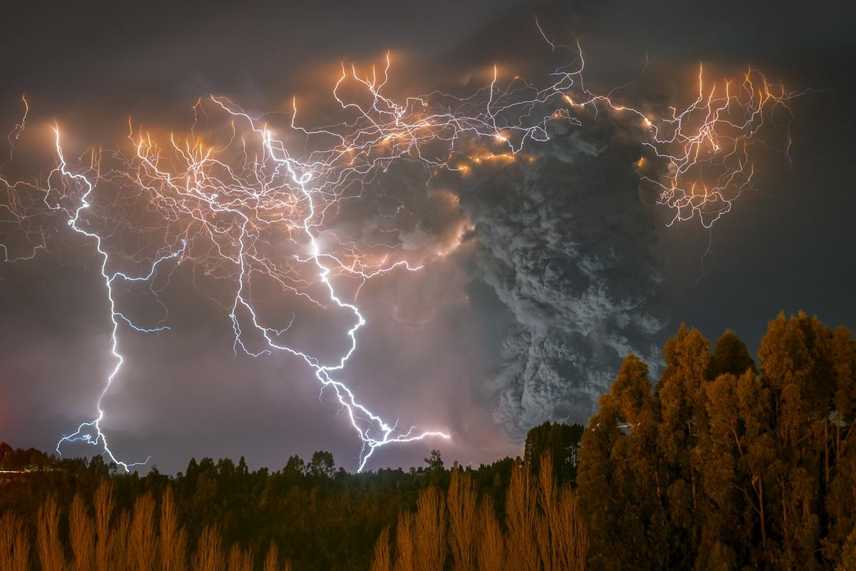 2nd Place, The Beauty of Nature. 'El Cordón Caulle II', a dirty storm that occurred during the furious eruption of the Cordon Caulle, located in the region of the Rivers, Chile.