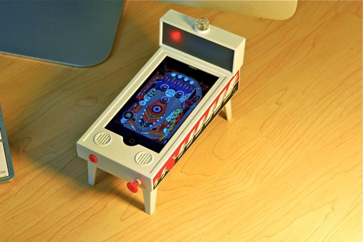"Pinball Magic is an ""(app)cessory"" that lets an iPhone or iPod touch operate as a miniature digital pinball machine (Photos courtesy New Potato)"