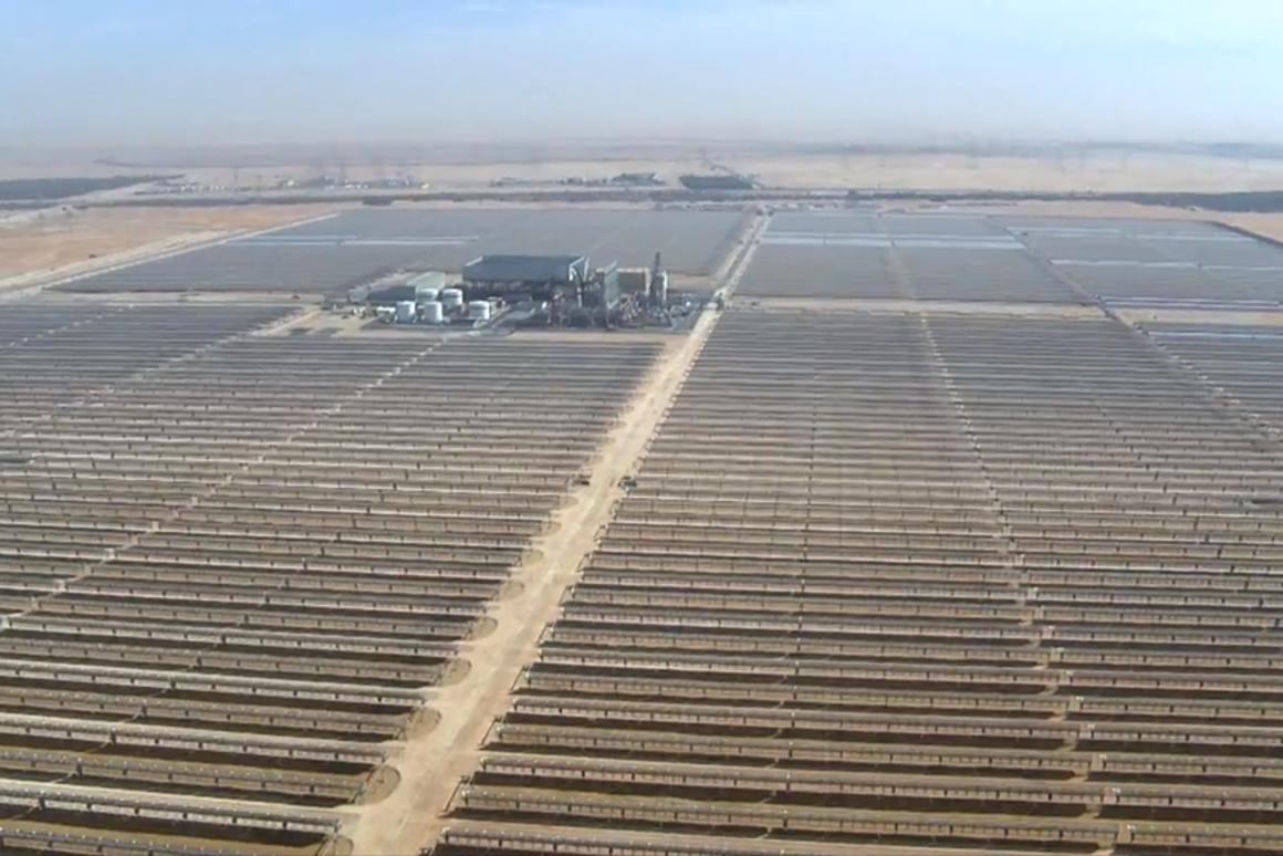 The Shams 1 concentrated solar power plant covers and area of 2.5 square km (1 sq mile)