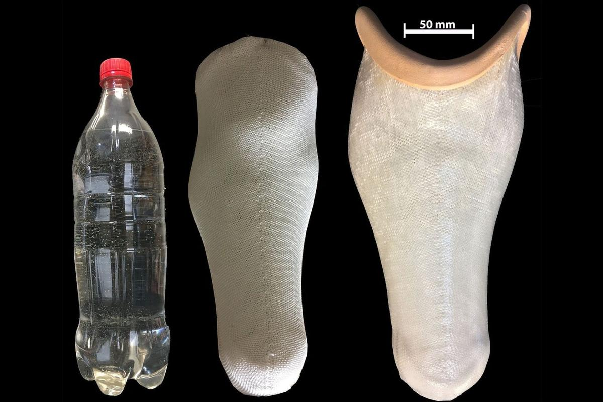 The prosthetic sockets on the right were made from polyester yarn sourced from ground up waste plastic bottles