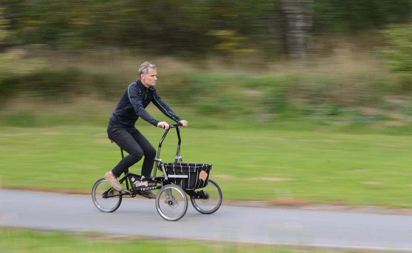 "Inventor Göran Durgé pedals the Tricksy in ""trike"" mode"