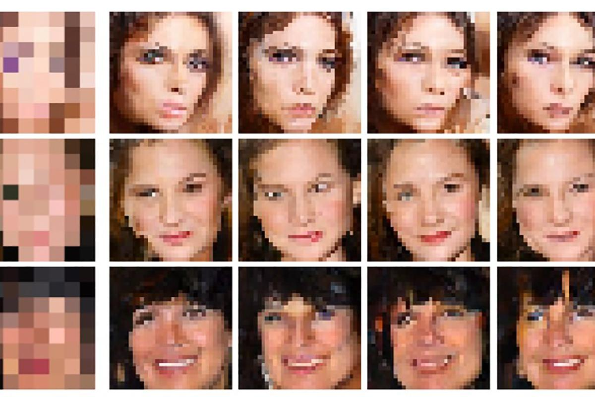 From the 8x8 picture on the left, the Google Brain team's algorithm generated the next four 32x32 photos as possible options.