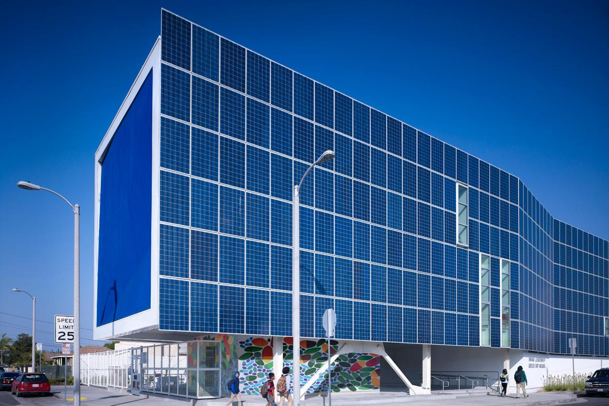 Green Dot Animo Leadership High School in Inglewood, Los Angeles, features a dramatic external solar wall